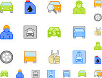 Jogo de ícones do carro liso Fotos de Stock