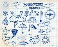 Jogo de ícones do desenho da mão do tempo do grunge ilustração do vetor
