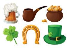 Jogo de ícones do dia do St. Patrick. Fotos de Stock Royalty Free