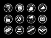 Jogo de ícones do filme ou do cinema Fotos de Stock Royalty Free