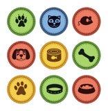 Jogo de ícones do gato e do cão no estilo retro Foto de Stock Royalty Free