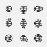 Jogo de ícones do globo ilustração royalty free