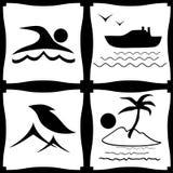 Jogo de ícones do mar Imagens de Stock