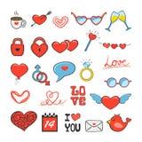 Jogo de ícones do Valentim Imagens de Stock Royalty Free