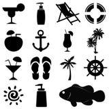 Jogo de ícones do verão Fotos de Stock Royalty Free