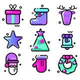 Jogo de ícones do vetor Ano novo e Natal Estilo contemporâneo, linha ícones Foto de Stock