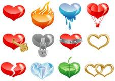 Jogo de ícones dos corações Fotos de Stock