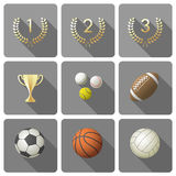 Jogo de ícones dos esportes foto de stock