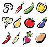 Jogo de ícones dos vegetais Foto de Stock Royalty Free