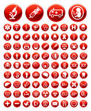 Jogo de ícones e de sinais de aviso médicos ilustração do vetor