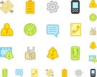 Jogo de ícones lisos do telefone móvel. Imagens de Stock Royalty Free