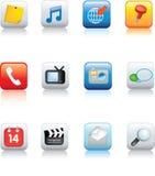 Jogo de ícones típicos do telefone móvel Foto de Stock