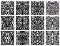 Jogo de 12 testes padrões sem emenda modernos monocromáticos Fotografia de Stock Royalty Free