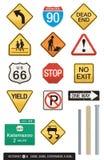 Jogo de 14 sinais da estrada Imagem de Stock Royalty Free