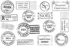 Jogo de 15 selos do Natal Fotografia de Stock Royalty Free