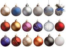 Jogo de 18 esferas dos chrismas Fotos de Stock Royalty Free