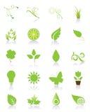 Jogo de 20 ícones verdes Fotos de Stock Royalty Free