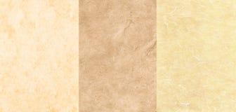 Jogo de 3 texturas do pergaminho fotos de stock