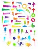 Jogo de 55 cursos da escova & gotejamentos da pintura Fotografia de Stock