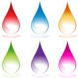Jogo de 6 gotas de água Imagens de Stock