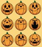 Jogo de 9 faces da abóbora do smiley Imagem de Stock Royalty Free