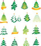 Jogo de abetos do Natal Fotos de Stock Royalty Free