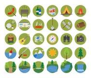 Jogo de acampamento do ícone Imagens de Stock