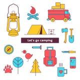 Jogo de acampamento do ícone Imagem de Stock