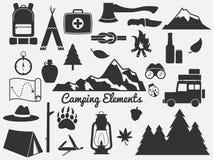 Jogo de acampamento do ícone Fotos de Stock