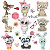 Jogo de animais bonitos dos desenhos animados Fotografia de Stock
