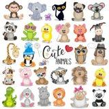 Jogo de animais bonitos dos desenhos animados ilustração stock