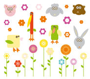 Jogo de animais bonitos e de flores do vetor Foto de Stock Royalty Free