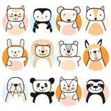Jogo de animais bonitos Personagens de banda desenhada Vetor imagem de stock