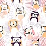 Jogo de animais bonitos Personagens de banda desenhada Vetor fotos de stock royalty free