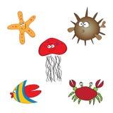 Jogo de animais de mar desenhados mão Imagem de Stock Royalty Free