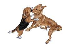 Jogo de arrelia de dois cães ilustração stock
