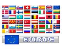 Jogo de bandeiras de país europeu Imagem de Stock