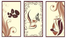 Jogo de bandeiras do café com borboleta Fotografia de Stock