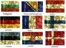 Jogo de bandeiras européias Fotografia de Stock
