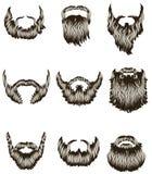 Jogo de barbas desenhadas mão Fotos de Stock Royalty Free