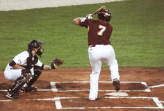 Jogo de basebol de EUA-Venezuela Fotos de Stock Royalty Free