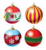 Jogo de Baubles do Natal Fotografia de Stock Royalty Free