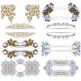 Jogo de beiras decorativas do projeto ilustração royalty free