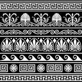 Jogo de beiras gregas antigas no preto Fotografia de Stock