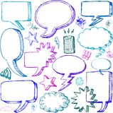 Jogo de bolhas cómicos desenhadas mão do discurso Imagem de Stock Royalty Free