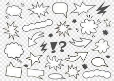 Jogo de bolhas do discurso Grupo de molde vazio no estilo do pop art Ilustração do vetor ilustração do vetor