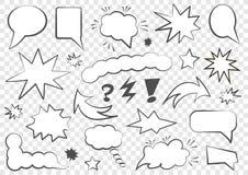 Jogo de bolhas do discurso Grupo de molde vazio no estilo do pop art Ilustração do vetor ilustração royalty free