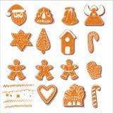 Jogo de bolinhos do Natal Ajuste das cookies diferentes do pão-de-espécie para o Natal Pão-de-espécie do ano novo sob a forma do  ilustração do vetor