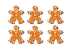 Jogo de bolinhos do Natal Ajuste das cookies diferentes do pão-de-espécie para o Natal Pão-de-espécie do ano novo sob a forma de ilustração do vetor