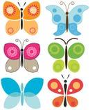 Jogo de borboletas coloridas Imagens de Stock Royalty Free